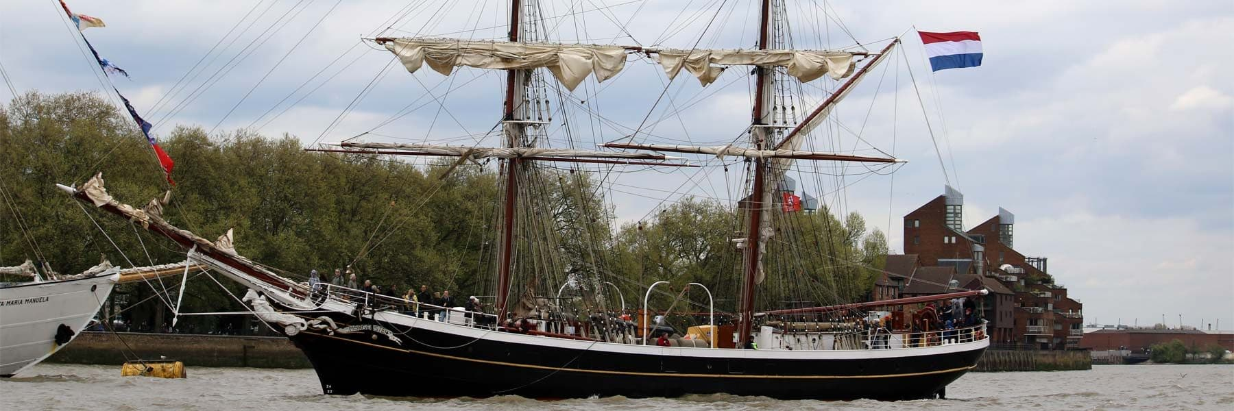 Tall Ship Morgenster moored at the Royal Borough of Greenwich